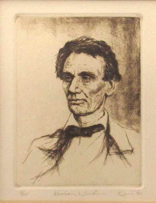 Kent Talmage-Bowers Printmaking Abraham Lincoln Etching