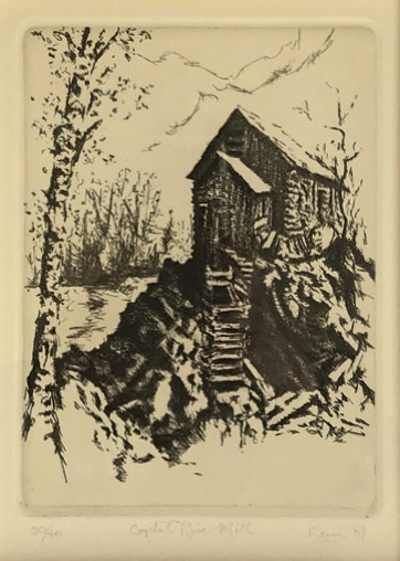 Kent Talmage-Bowers Printmaking Crystal River Mill Etching