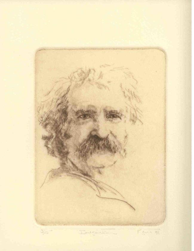 Kent Talmage-Bowers Printmaking Imagination (Mark Twain) Etching