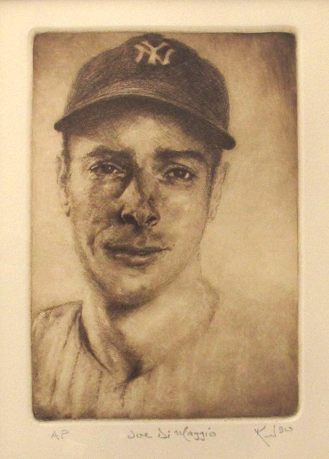 Kent Talmage-Bowers Printmaking Joe DiMaggio Etching