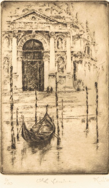 Kent Talmage-Bowers Printmaking Old Venice Etching