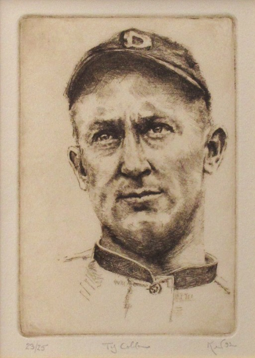 Kent Talmage-Bowers Printmaking Ty Cobb Etching