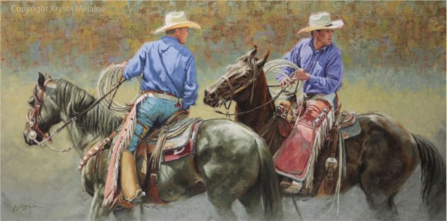 Krystii Melaine Painting Ahead of the Action Oil on Belgian Linen