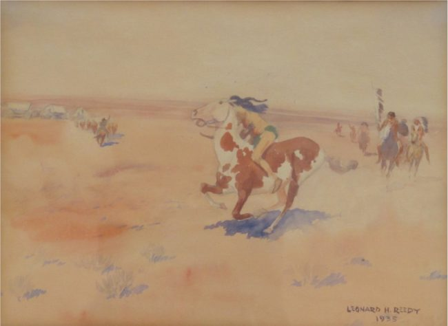 Leonard Reedy Painting A Cheyenne Attack Mixed Media on Paper