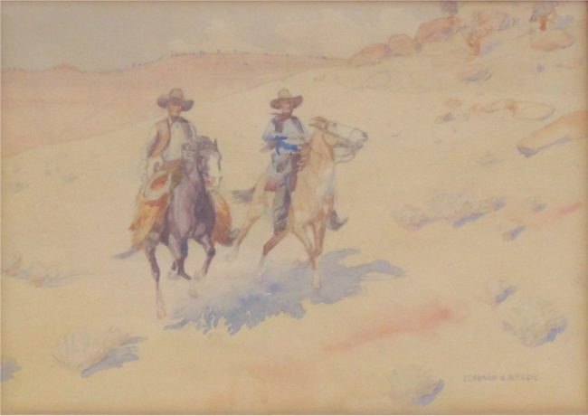 Leonard Reedy Painting Riding The Range Mixed Media on Paper