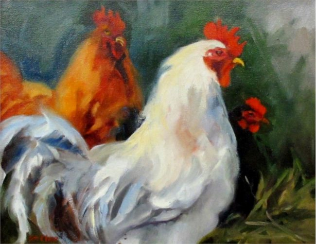 Linda St. Clair Painting Roosters Oil on Canvas