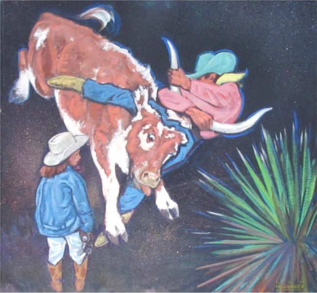 Lon Megargee Painting Steer Wrestling Oil on Board