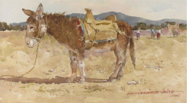 Lowell Ellsworth Smith Painting Burrow with Homemade Saddle Watercolor