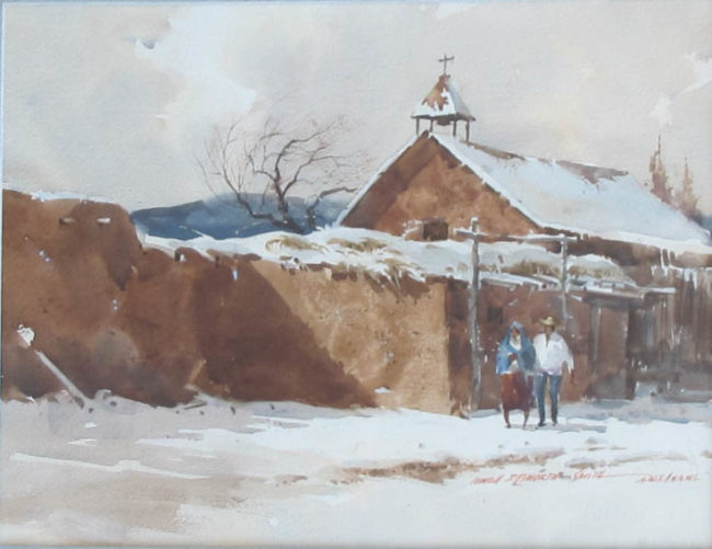 Lowell Ellsworth Smith Painting Church Watercolor