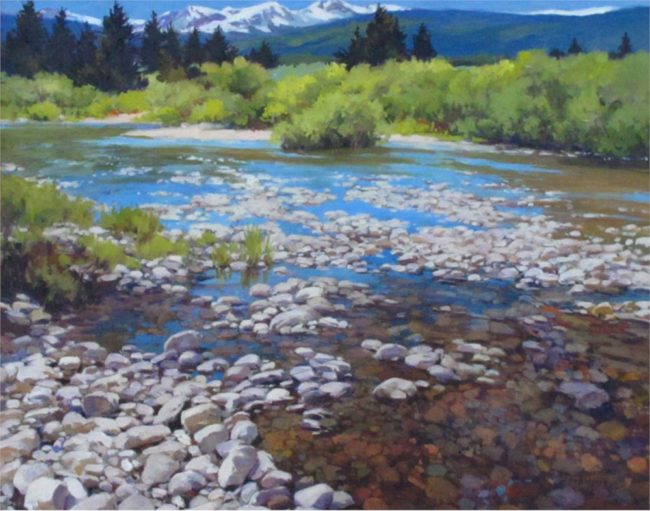 Martha Mans Painting On the Rocks - Platte River Oil on Canvas