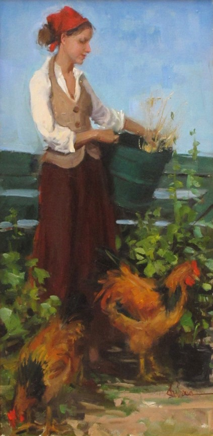 Nancy Chaboun Painting Counting Her Chickens Oil on Canvas