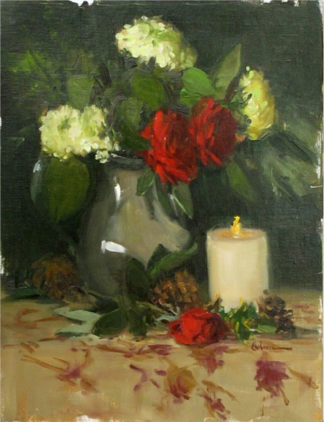 Nancy Chaboun Painting Flame Oil on Board