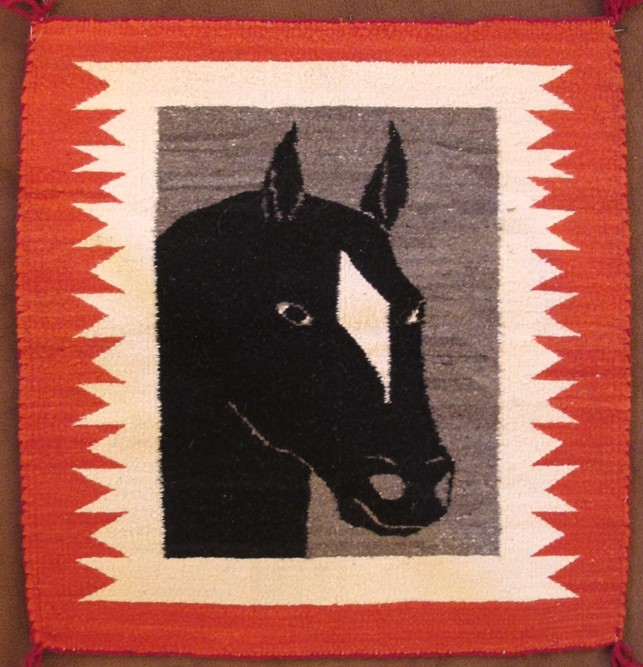 Navajo Weaving Textiles Big Horse Head with Red Weaving