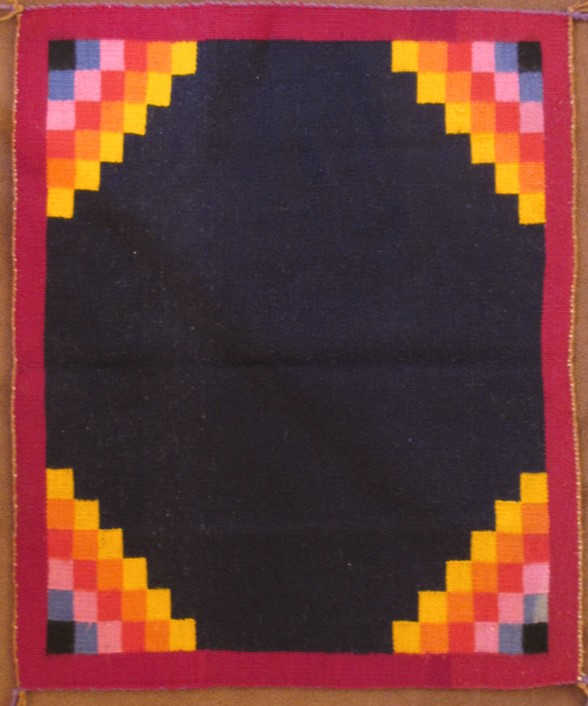 Navajo Weaving Textiles Navy Blue Black with 4 Colors in Corners Weaving