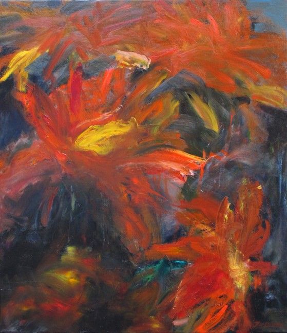 Rita Zimmerman Painting Red Garden Oil on Linen