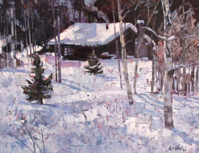 Robert Moore Painting Winter Life Oil on Board
