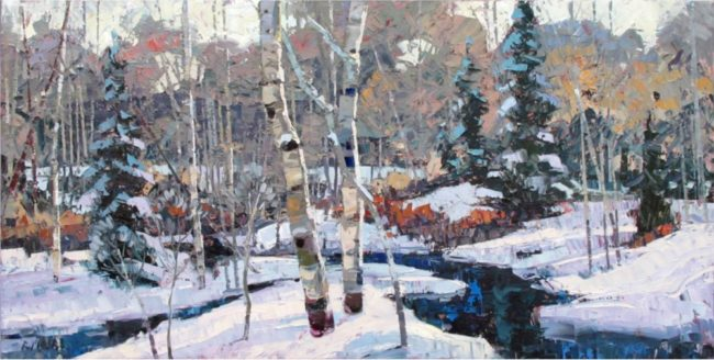 Robert Moore Painting Winter's Peace Oil on Canvas