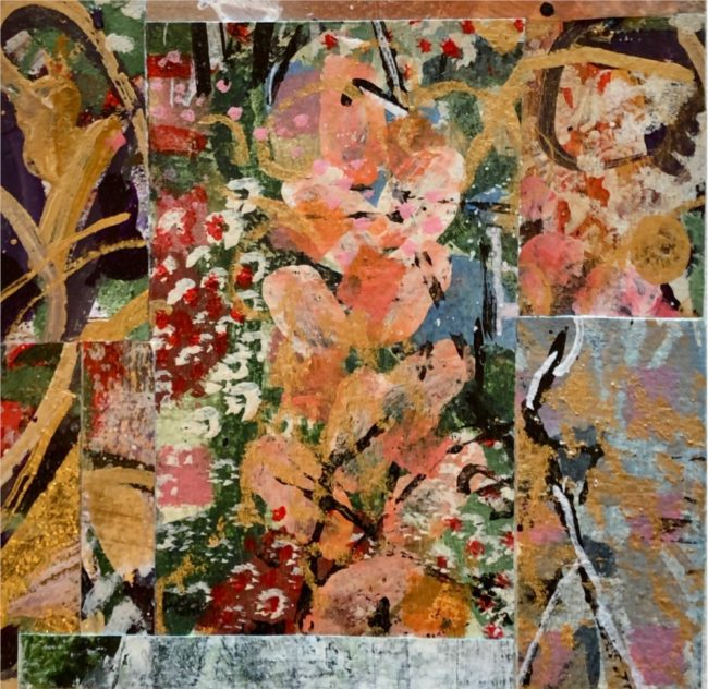 Sara Ware Howsam Painting An Old Fashioned Garden Acrylic Paper Collage
