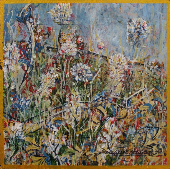 Sara Ware Howsam Painting Flowers Gone Wild Acrylic on Panel