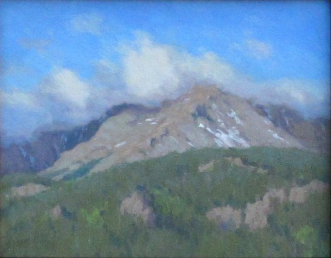 Scott Yeager Painting Clouds on the Peak Oil on Board