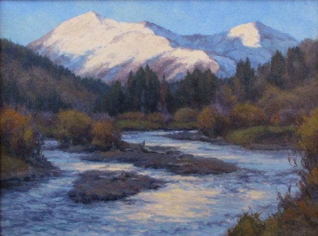 Scott Yeager Painting High Peaks Oil on Board