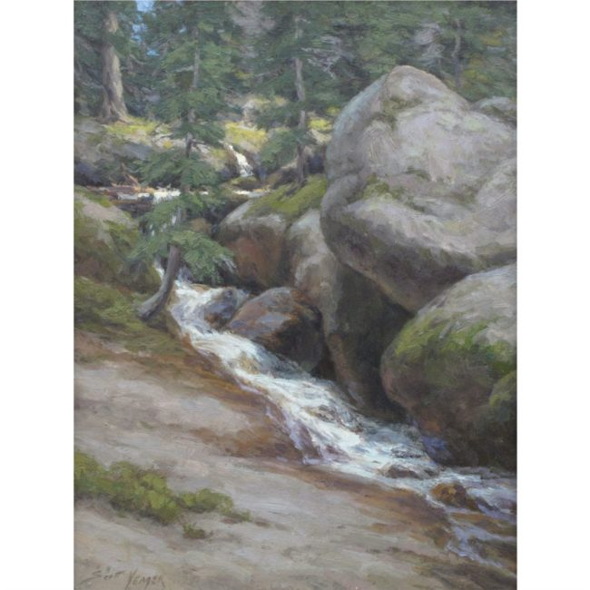Scott Yeager Painting North Slope Cascade Oil on Board