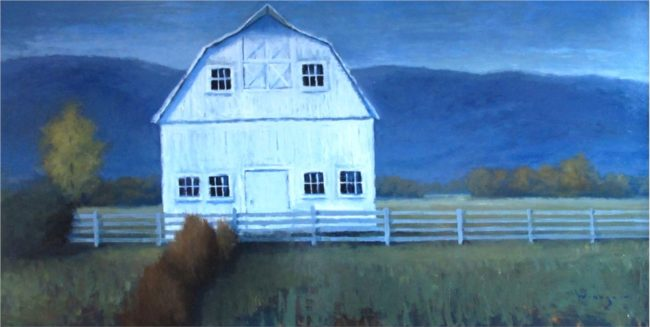 Seth Winegar Painting Behind the Fence Line Oil on Panel