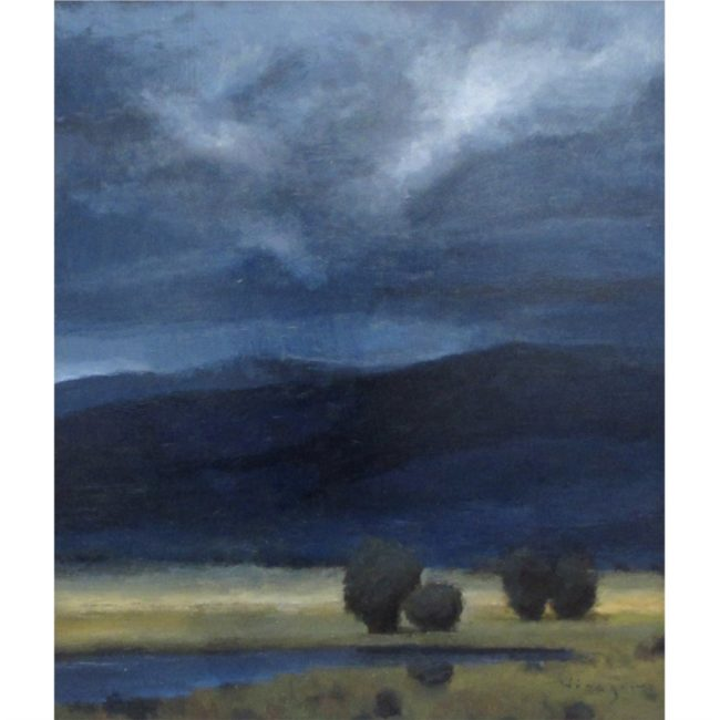 Seth Winegar Painting Storm Clouds Oil on Panel