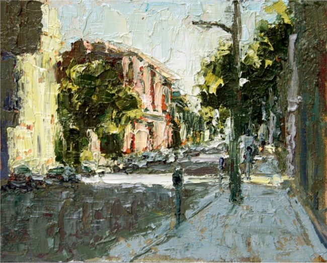 Susie Hyer  Autumn Light In the City Oil on Board