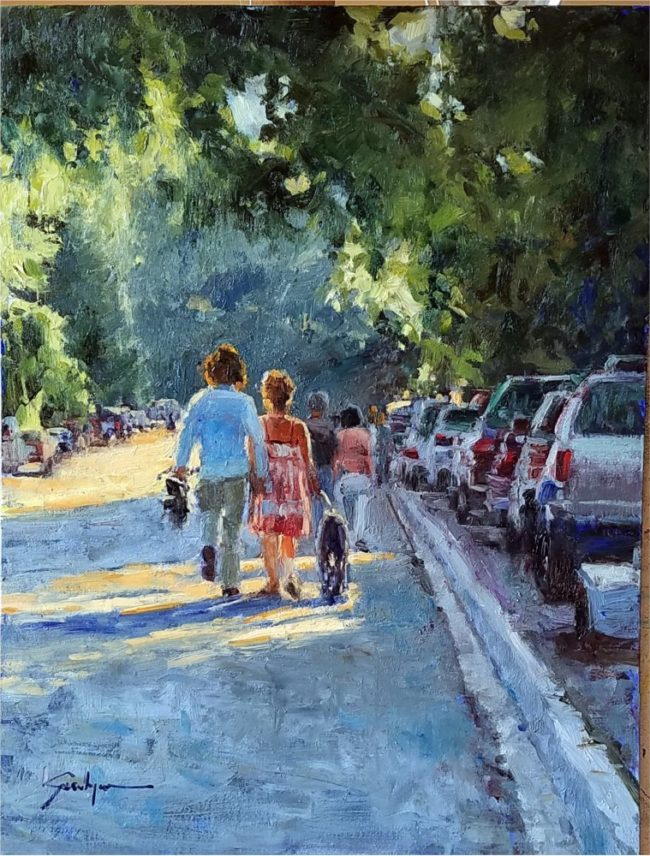 Susie Hyer  Walking Home Oil on Board