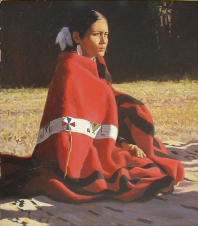 Tony Eubanks Painting The Red Blanket Oil on Canvas
