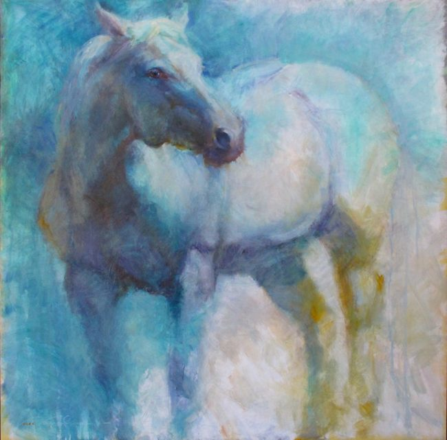 V.... Vaughan Painting Blue Mare Oil on Canvas