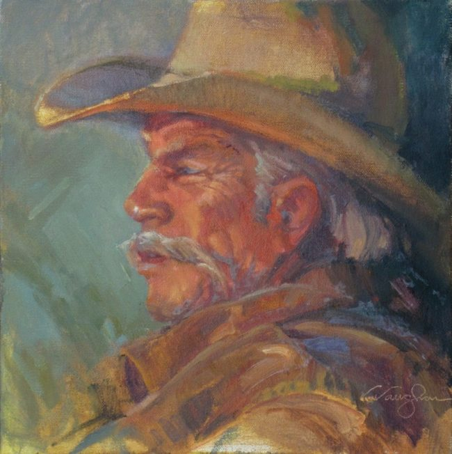 V.... Vaughan Painting Man of the Land Oil on Canvas