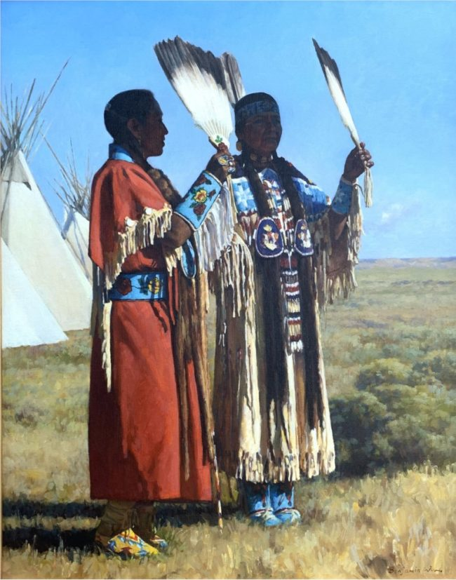 Benjamin Wu Painting Two Native Women Oil on Canvas
