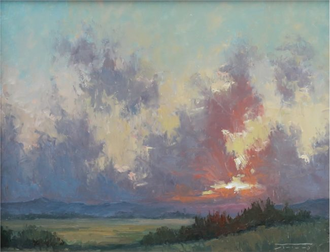 Jane Hunt Painting Colorado Sunset Oil on Panel