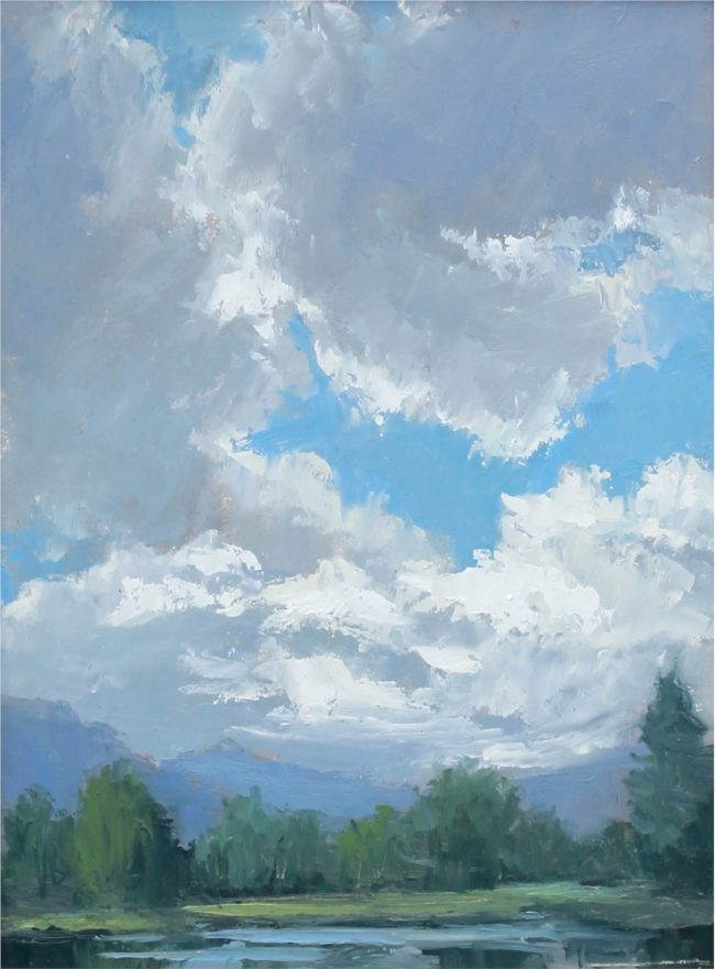 Jane Hunt Painting Mountain View Oil on Panel