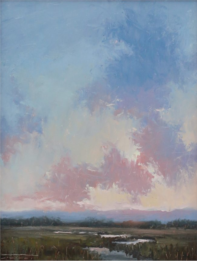 Jane Hunt Painting Summer Sunset Oil on Panel