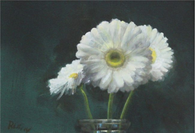 Marc Rubin Painting White Hot Gerbers Oil on Panel