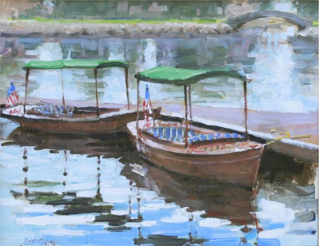 Jon Smith  The Broadmoor Lake Oil on Board