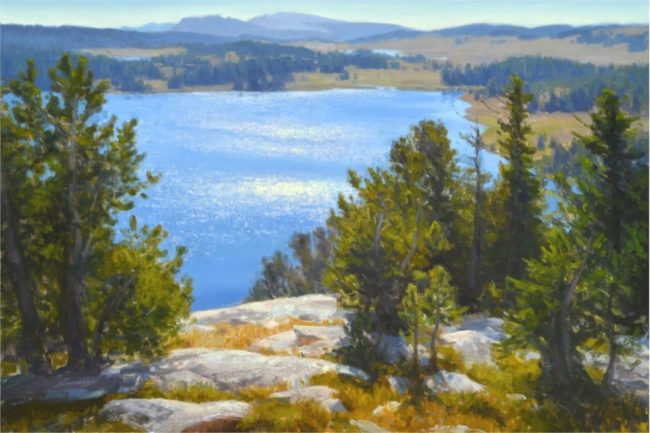 Kyle Sims Painting Island Lake Shimmer Oil on Linen