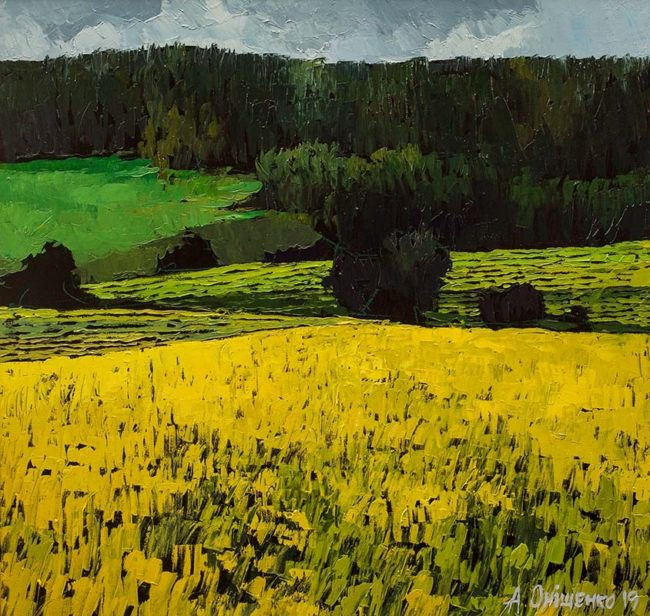 Alexandr Onishenko Painting Consonance of Green and Yellow Oil on Canvas