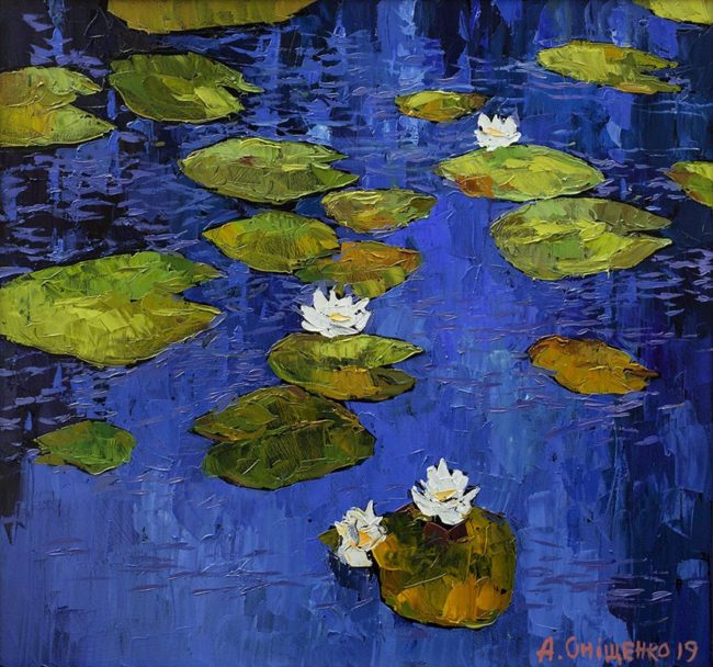 Alexandr Onishenko Painting Lily Pond Oil on Canvas