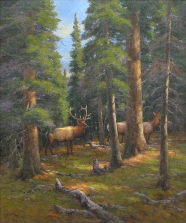 Scott Yeager Painting Elk in the North Slope Forest Oil on Canvas