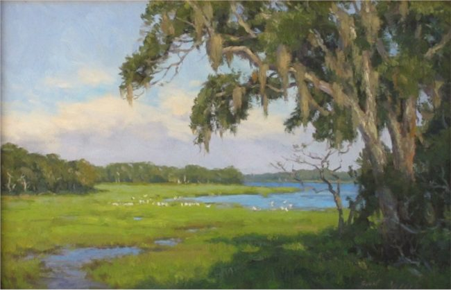 Scott Yeager Painting Ibises Oil on Board