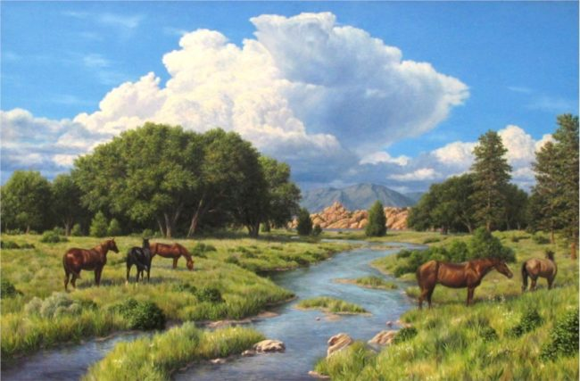 Steve Clement Painting Over the River Oil on Canvas