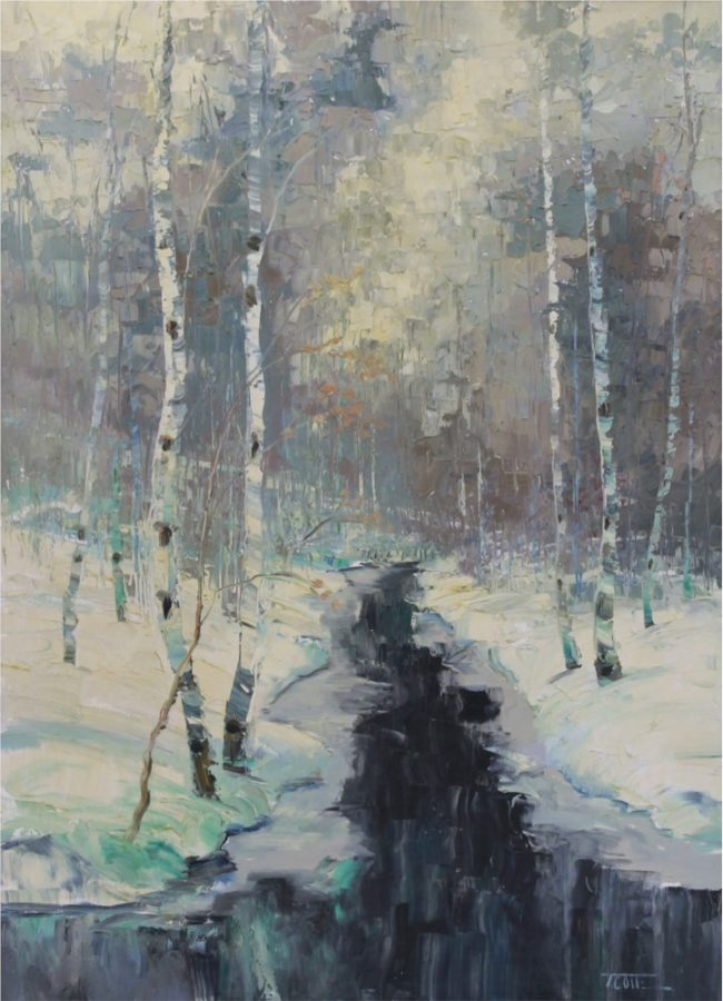 Troy Collins Painting Winter Creek Oil on Canvas