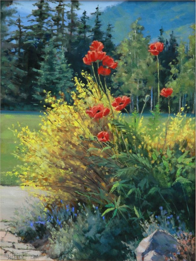 Darcie Peet Painting Poppies and Gold Oil on Linen