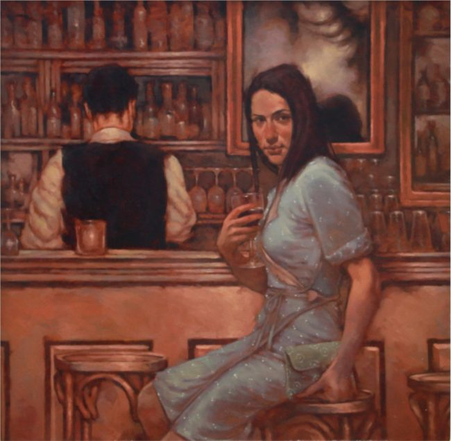 Joseph Lorusso Painting Waiting At The Bar Oil on Panel