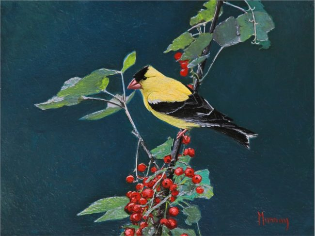Karla Murray Painting American Goldfinch with Red Berries Oil on Board