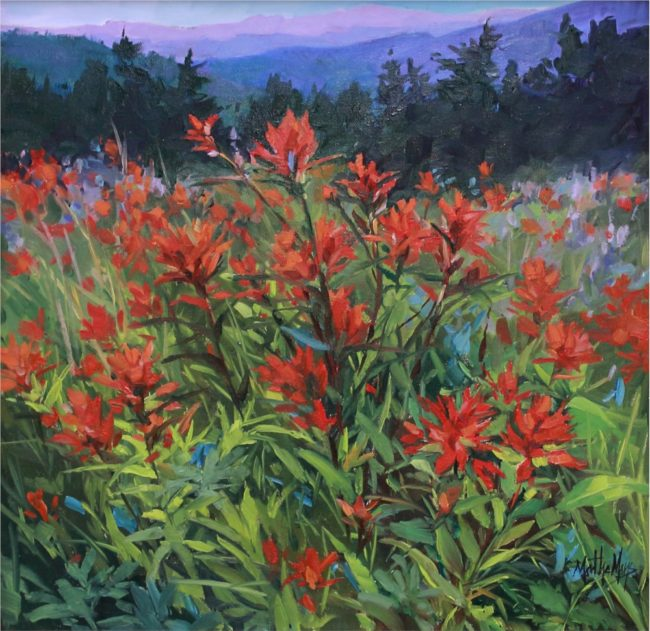 Martha Mans Painting Colorado Indian Paintbrush Oil on Canvas